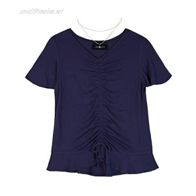 Amy Byer Girls' Big Short Sleeve Cinched Front Top