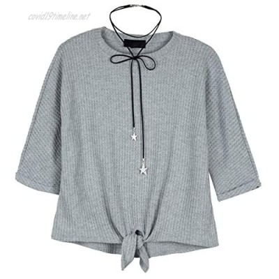 Amy Byer Girls' Tie-Front Long Sleeve Shirt