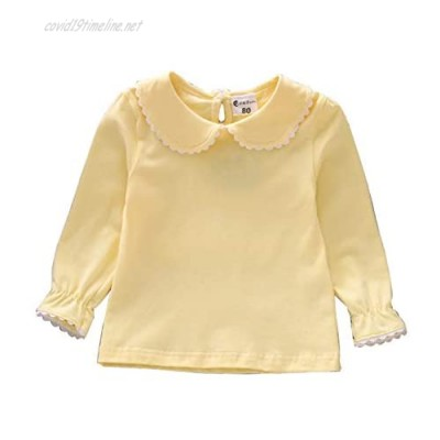 BOUTIKOME Kids Girls Basic Shirt Long Sleeve 3 Solid Color Doll Collar Tops Blouse