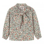 Floral Bow Tie Neck Blouses for Girls II Toddler & Kids Girls' Casual Tops and Shirts