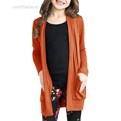 Girls Long Sleeve Cardigan Lightweight Floral Kimono Cover Ups Coat Elbow Patch Tops with Pockets