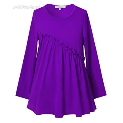 Girls Long Sleeve Ruffle Tops Winter Tunic Fall Tops Round Neck Blouse Solid Color