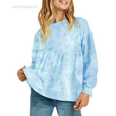 Makkrom Girls Casual Tunic Tops Tie Dye Long Sleeve Loose Soft Blouse T-Shirt for 2-12 Years