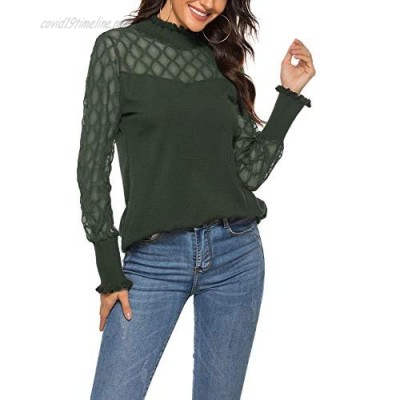 ZHENWEI Women Casual Long Sleeve and Sleeveless Lace Top Turtleneck Crew Stretch Slim T Shirt Layer Tops
