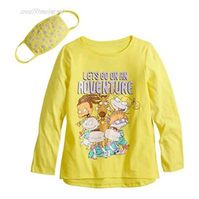 Nickelodeon Rugrats Girls Long Sleeve T-Shirt Bundle with Stars Face Mask