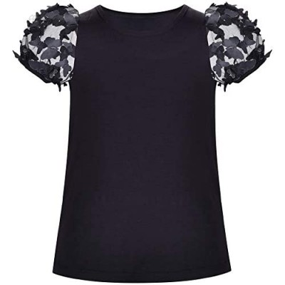 Sunny Fashion Girls Short Sleeve Tee T-Shirt Butterfly Sleeve Cotton Casual
