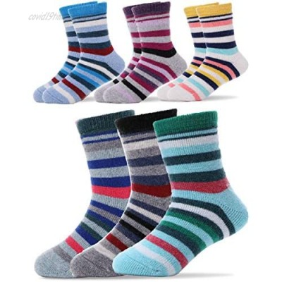Kids Wool Socks 6 Pairs Toddlers Boys Girls Child Warm Winter Thermal Thick Boot Cabin Snow Socks