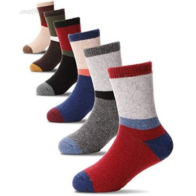 MOGGEI Kids Wool Warm Socks Boys Girls Toddlers Winter Thick Hiking Heavy Thermal Cozy Crew Gift Boot Socks 6 Pairs