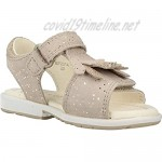 Geox Girls' VERRED 13 Leather Sparkle Dual Straps Beige/Gold Flat Sandal