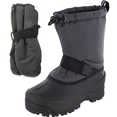 Northside Frosty Winter Snow Boots for Boys/Girls with Matching Waterproof Mittens Size: 8 M US Toddler - Gray (Gray)