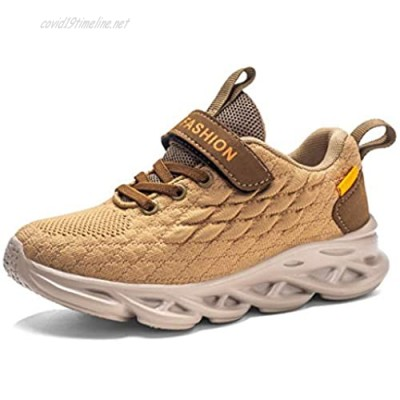 Damyuan Kids Lightweight Breathable Running Sneakers Easy Walk Sport Casual Shoes for Boys Girls Brown
