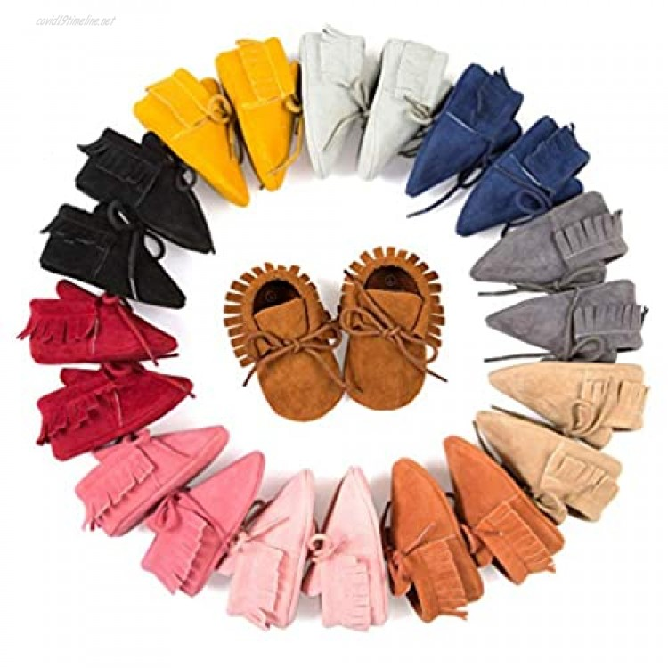 Infant Toddler Baby Soft Sole Bowknots Moccasin Girls Loafers Shoes Infant Sneakers Suede Leather Soft Shoes First Walker House Shoes (A01-Gold 12-18 Months)