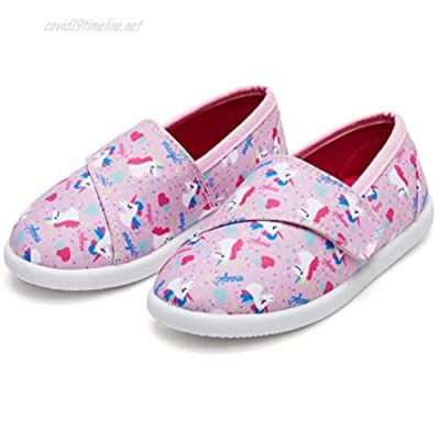 K KomForme Toddler Girls Sneakers Soft and Breathable Slip On Canvas Shoes