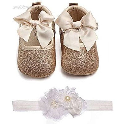 Lidiano Baby Girls Bowknot Sequins Bling Anti-Slip Mary Jane Flat Crib Shoes with Headband