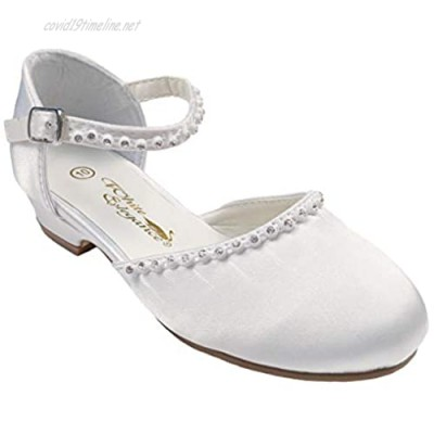 Little Things Mean A Lot Girls White Satin Mary Jane Clog Dress Shoe with Rhinestones and Heel