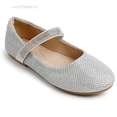 Trary Girls Mary Jane Shoes Dress Ballet Flats with Rhinestone Strap