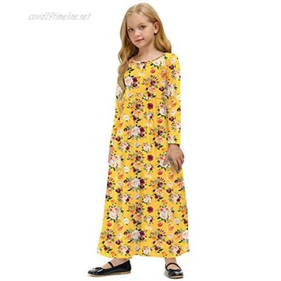 BesserBay Christmas Classic Plaid Long Sleeve Swing Maxi Dress with Side Pockets 5-12 Years