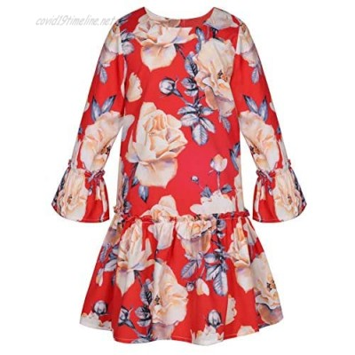 Bonny Billy Girls Holiday Outfits Vintage Big Flower Printed Red Dress for Christmas