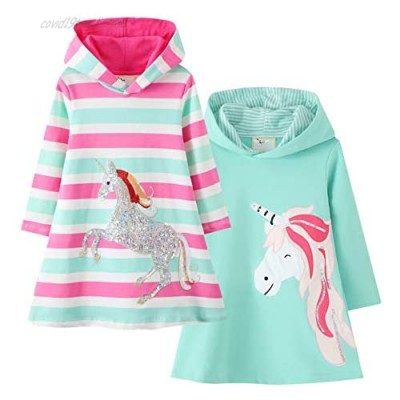 Girls Long Sleeve Cotton Dress Winter Warm Hooded Dresses Casual Cartoon Appliques Striped Jersey Dresses for Girls