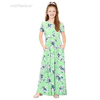 KYMIDY Teen Girls Maxi Dress Short Sleeve Floral Casual Long Dresses with Pockets for Girls 8-14 Years