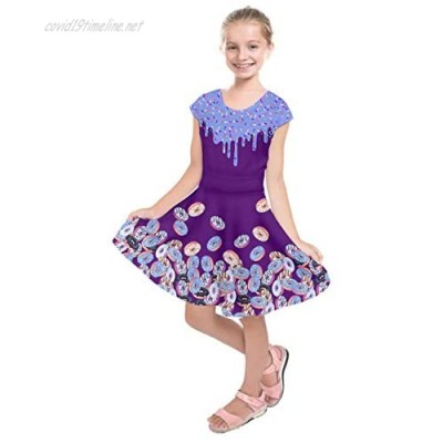 PattyCandy Little Big Girls Candy Sweets Lollipop Dark Yummy Donuts Printed Casual Kids Swing Party Dress