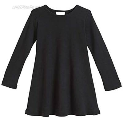 POPINJAY Girls Long Sleeve Dress - Best Kids Soft Cotton Dresses for Winter Fall and School Outfits - Toddler Size 2T - 8