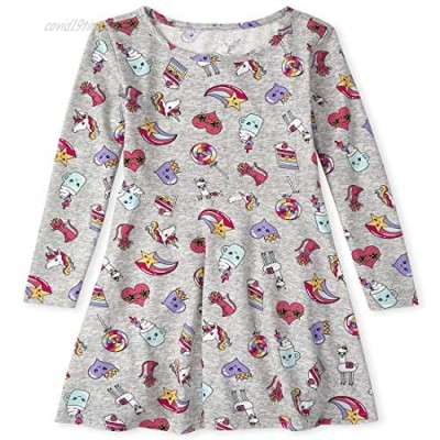 The Children's Place Girls' Long Sleeve Printed Pleated Dress