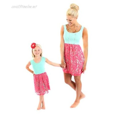 YMING Mother and Daughter Dresses Family Parent Child Outfit