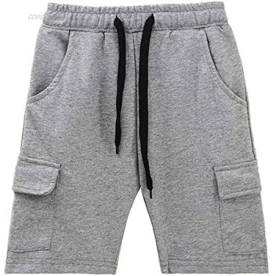 KISBINI Boys' Cotton Summer Clothes Athletic Shorts with Pockets for Children