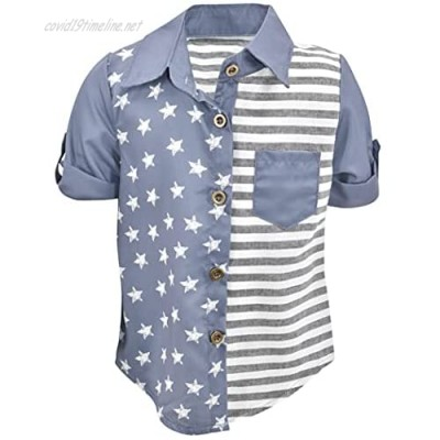 Unique Baby Boys Short Sleeve Button Up Flag Shirt