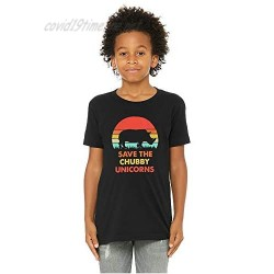 Boys/Girls - Kids Save The Chubby Unicorn Distressed Funny Novelty Graphic T-Shirt