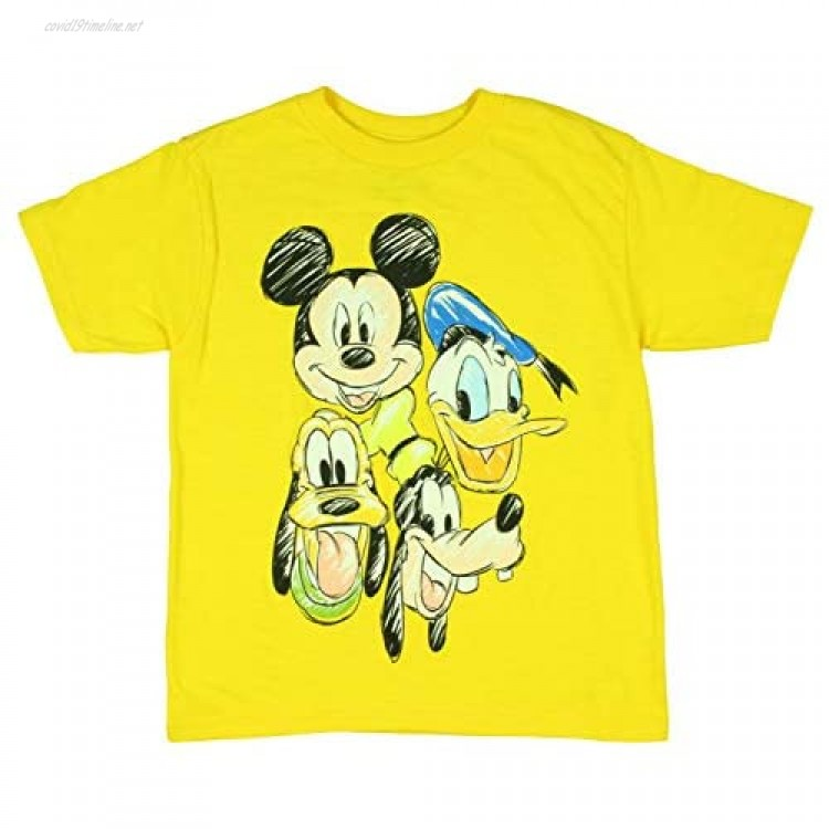 Disney Little Boys' Mickey Mouse Pluto Goofy Donald Duck Colorful Character Sketch Art T-Shirt Tee