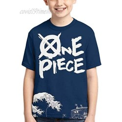 EXV One Piece Anime Luffy T Shirts for Boys Graphic Short Sleeve T-Shirt Kids Casual Tees