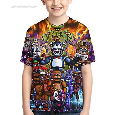 Five Nights at Freddy's Youth Unisex Crewneck T-Shirts 3D Print Fashion Tees for Boys/Girls/Teen/Kid's
