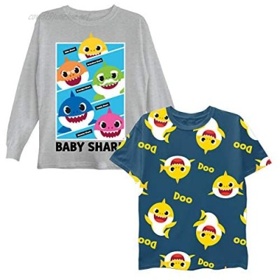 Nickelodeon Boys Baby 2-Piece Short Tee & Long Sleeve T-Shirt Bundle Set-Toddler Size 2t-5t-Mommy Daddy Shark