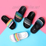 Ataiwee Toddler's Poolslide Sandals Slip On Girl Boy Touch Fastening Strip Sliders with Elastic Back for Younger