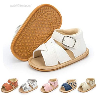 Isbasic Infant Baby Boys Girls Sandals Pu Leather Soft Anti-slip Rubber Sole for New walkers Toddler Outdoor Casual Summer Shoes