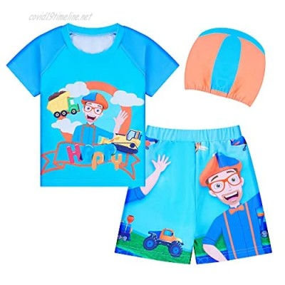 Toddler Swimsuits for Boys Two Pieces Bathing Suit Short Sleeve Swim Set with Cap for Summer Beach Sport