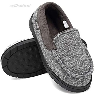 FANTURE Toddler Kids Moccasin House Shoes Slippers with Memory Foam Slip On Sole Protection Slipper for Boys Girls Indoor Outdoor