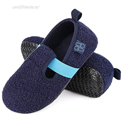 HomeTop Boys Girls Comfy Wool Felt House Shoes Light Weight Stretchable Elastic Band Slippers for Kids with Anti-Skid Rubber Sole