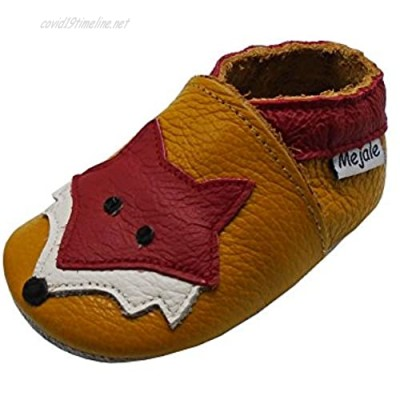 Mejale Baby Shoes Soft Sole Leather Crawling Moccasins Cartoon Fox Infant Toddler First Walker Slippers(12-18 Months Brown)