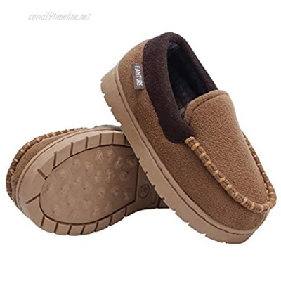 Toddler Kids Moccasin House Shoes Slippers with Memory Foam Slip On Sole Protection Slipper for Boys Girls Indoor Outdoor