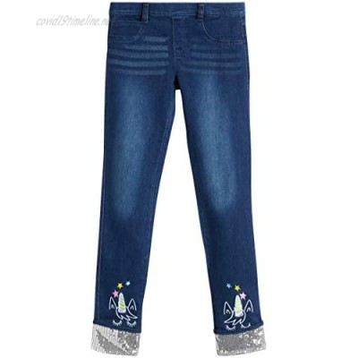 dELiAs Girl Jeggings - Super Stretch Embroidered Jean Leggings with Sequin Cuffs