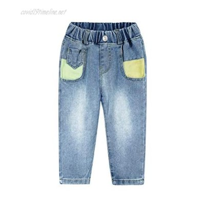 KIDSCOOL SPACE Baby & Little Girls Colorful Patchwork Decor Washed Processing Light Blue Jeans