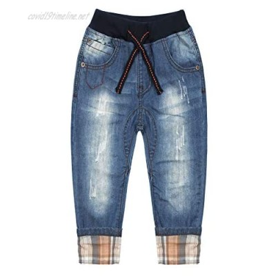 KIDSCOOL SPACE Kids Ribbed Elastic Waist with String Ripped Turn Up Leggs Design Slim Jeans