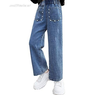 NABER Kids Girls Fashion Straight-Leg Jeans Elastic Waist Loose Wide Leg Denim Pants with Beaded Front Pockets Age 4-14 Years