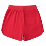 AMERICLOUD Girls Running Cotton Shorts Kids Drawstring Casual Short with Pockets Girls Workout Clothes 3-12 Years