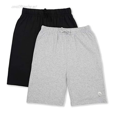 DOTDOG Kids 1 or 2 Pack Soft 100% Cotton Jersey Athletic Shorts with Pockets for Boys or Girls 3-12 Years