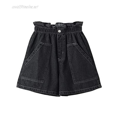 Milumia Girl's Casual Elastic Paperbag Waist Denim Shorts Jeans with Front Pockets