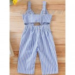 EGELEXY Toddler Kids Baby Girl Striped Backless Bowknot Romper Jumpsuit Overalls Long Pants Outfits
